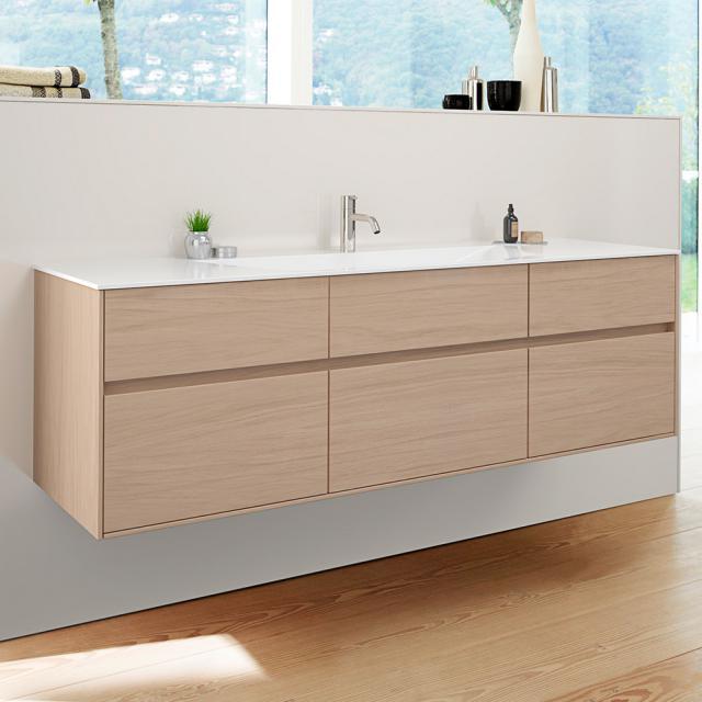 Burgbad RC40 Solitaire Mineralguss-Waschtisch mit Waschtischunterschrank mit 5 Auszügen Front eiche authentic / Korpus eiche authentic, Waschtisch weiß