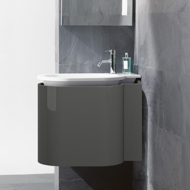 Burgbad RC40 Solitaire Mineralguss-Waschtisch mit Waschtischunterschrank mit 1 Klappe Front dunkelgrau hochglanz / Korpus dunkelgrau hochglanz, Waschtisch weiß samt