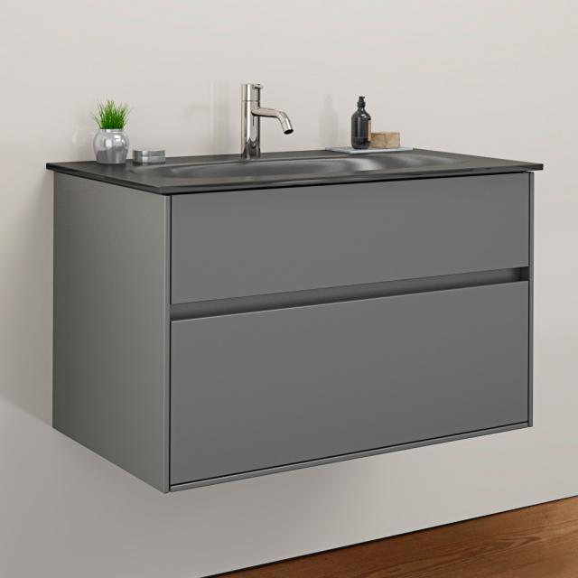 Burgbad RC40 Solitaire Glas-Waschtisch mit Waschtischunterschrank mit 1 Auszug Front dunkelgrau matt / Korpus dunkelgrau matt, Waschtisch dunkelgrau matt