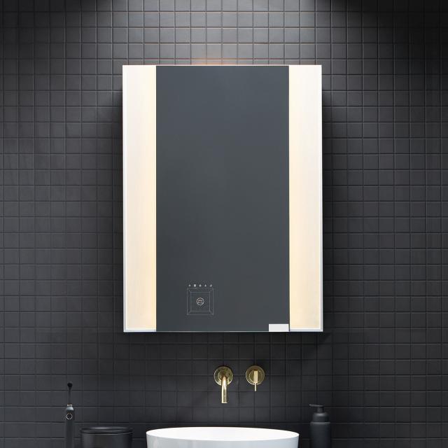 Burgbad RL40 Room Light Spiegelschrank mit LED-Flächenbeleuchtung anthrazit matt, ohne Waschtischbeleuchtung, mit Griff