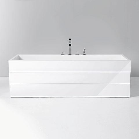 Burgbad Crono 1.0 Rechteck-Badewanne, Einbau weiß, ohne Füllfunktion
