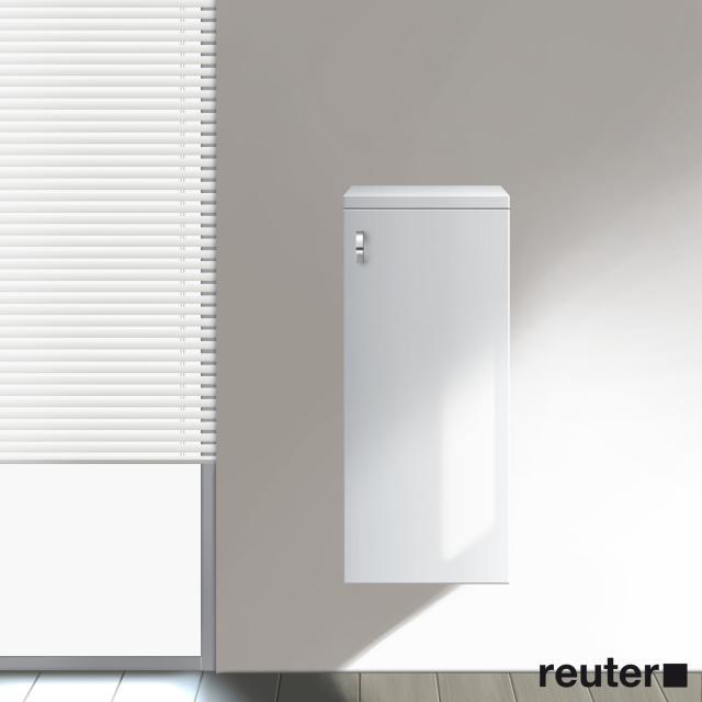 Burgbad Sinea halbhoher Schrank mit 1 Tür Front weiß hochglanz/Korpus weiß glänzend