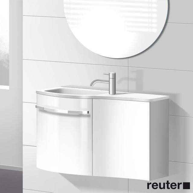 Burgbad Sinea Handwaschbecken mit Waschtischunterschrank mit 2 Türen Front weiß hochglanz/Korpus weiß glänzend/Waschtisch weiß