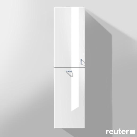 Burgbad Sinea Hochschrank mit 1 Tür und 1 Wäschekippe Front weiß hochglanz/Korpus weiß glänzend