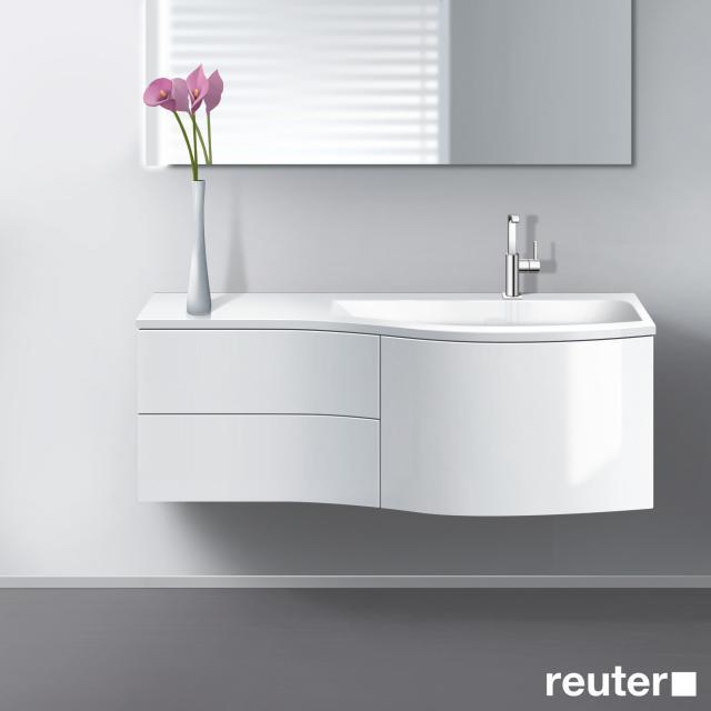 Burgbad Sinea Waschtisch mit Waschtischunterschrank mit 3 Auszügen Front weiß hochglanz/Korpus weiß glänzend/Waschtisch weiß