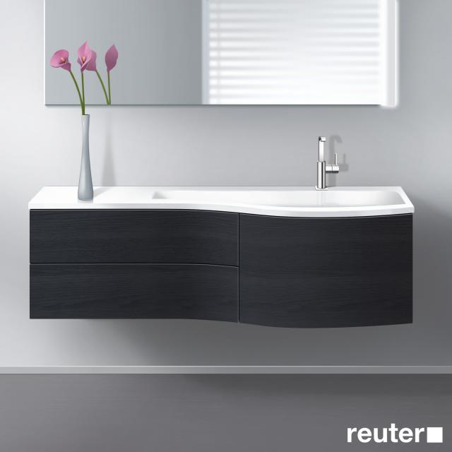 Burgbad Sinea Waschtisch mit Waschtischunterschrank mit 3 Auszügen Front hacienda schwarz/Korpus hacienda schwarz/Waschtisch weiß