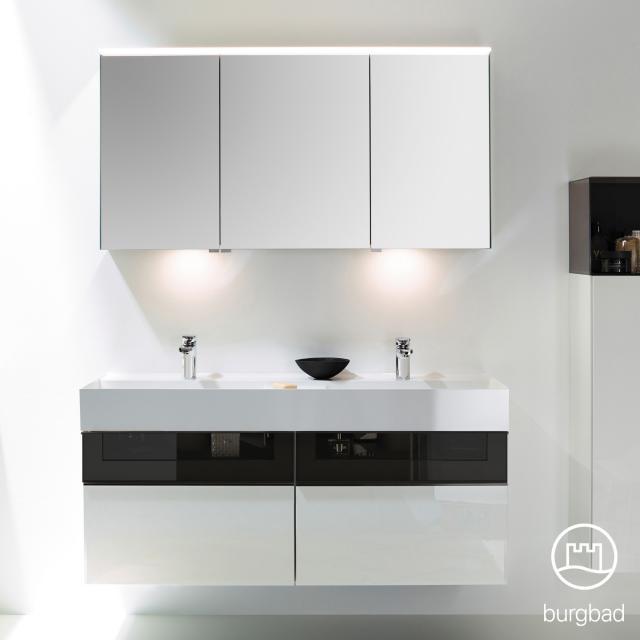 Burgbad Yumo Set Doppelwaschtisch mit Waschtischunterschrank und Spiegelschrank Front weiß hochglanz/bronze/Korpus weiß hochglanz, Waschtisch weiß