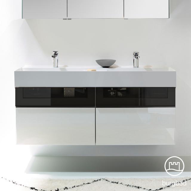 Burgbad Yumo Doppelwaschtisch mit Waschtischunterschrank mit 4 Auszügen Front weiß hochglanz/bronze/Korpus weiß hochglanz/Waschtisch weiß samt