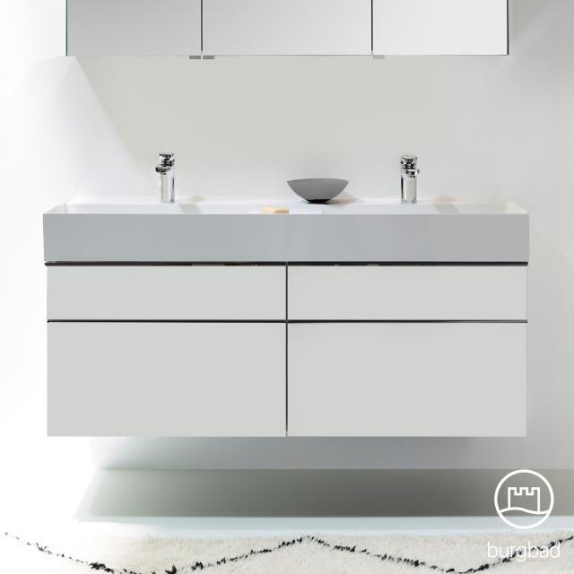 Burgbad Yumo Doppelwaschtisch mit Waschtischunterschrank mit 4 Auszügen Front weiß matt/ Korpus weiß matt, Waschtisch weiß samt