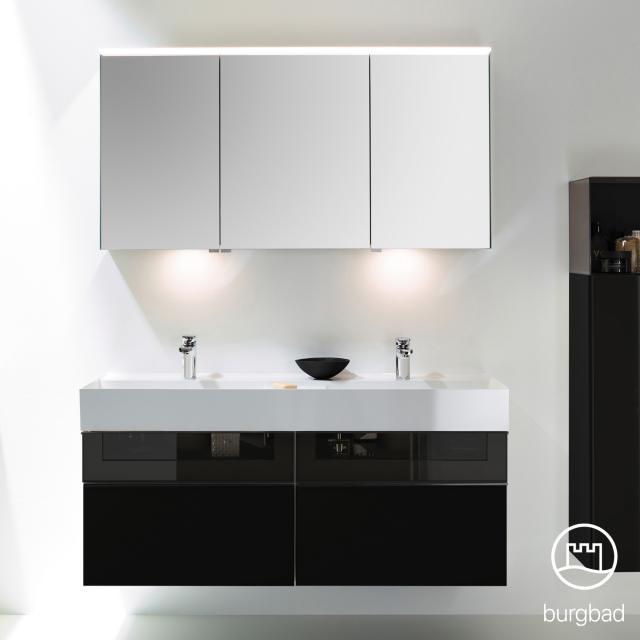 Burgbad Yumo Set Doppelwaschtisch mit Waschtischunterschrank und Spiegelschrank Front schwarz hochglanz/bronze/Koprus schwarz hochglanz/Waschtisch weiß