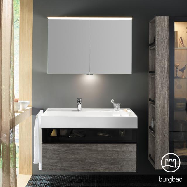 Burgbad Yumo Set Waschtisch inkl. Ablage mit Waschtischunterschrank und Spiegelschrank Front eiche alaska dekor/bronze/Korpus eiche alaska dekor/Waschtisch weiß
