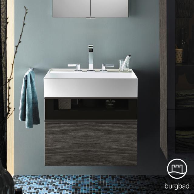 Burgbad Yumo Waschtisch mit Waschtischunterschrank mit 2 Auszügen Front eiche alaska dekor/bronze/Korpus eiche alaska dekor/Waschtisch weiß