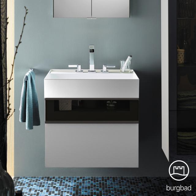 Burgbad Yumo Waschtisch mit Waschtischunterschrank mit 2 Auszügen Front weiß matt/ bronze/Korpus weiß matt/Waschtisch weiß