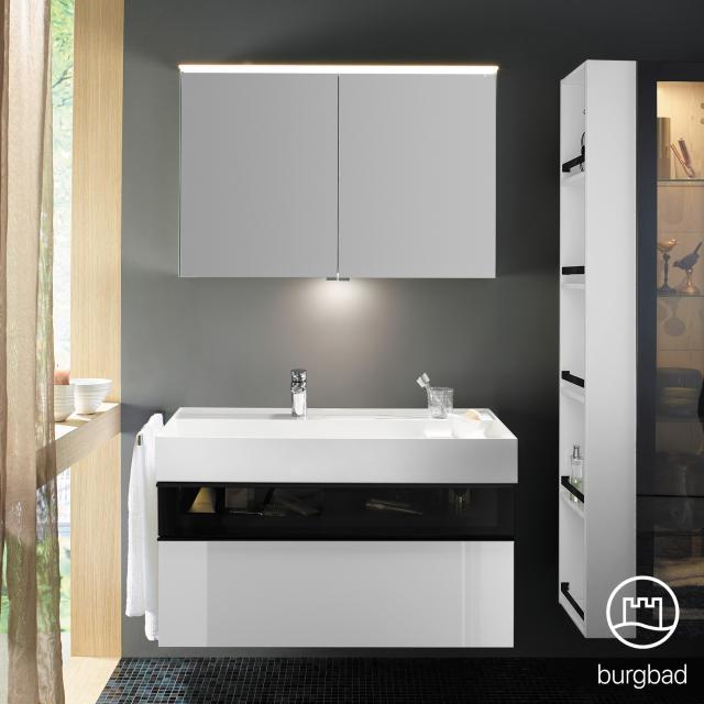 Burgbad Yumo Set Waschtisch inkl. Ablage mit Waschtischunterschrank und Spiegelschrank Front weiß hochglanz/bronze/Korpus weiß hochglanz, Waschtisch weiß