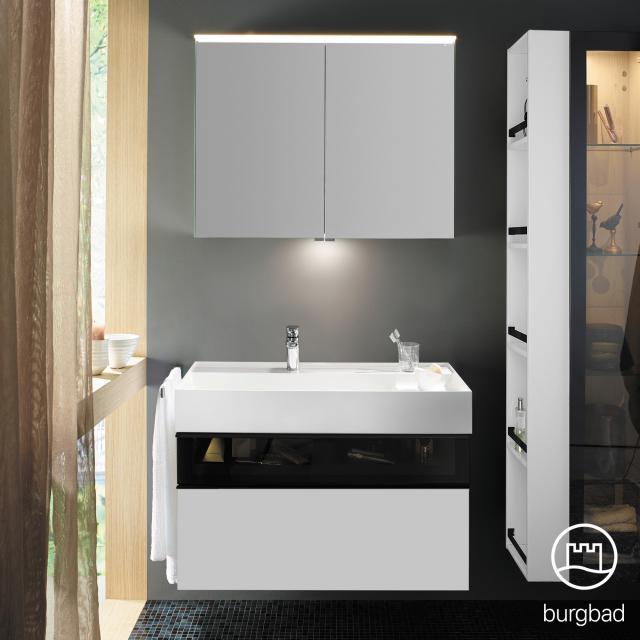 Burgbad Yumo Set Waschtisch inkl. Ablage mit Waschtischunterschrank und Spiegelschrank Front weiß matt/bronze/Korpus weiß matt/Waschtisch weiß
