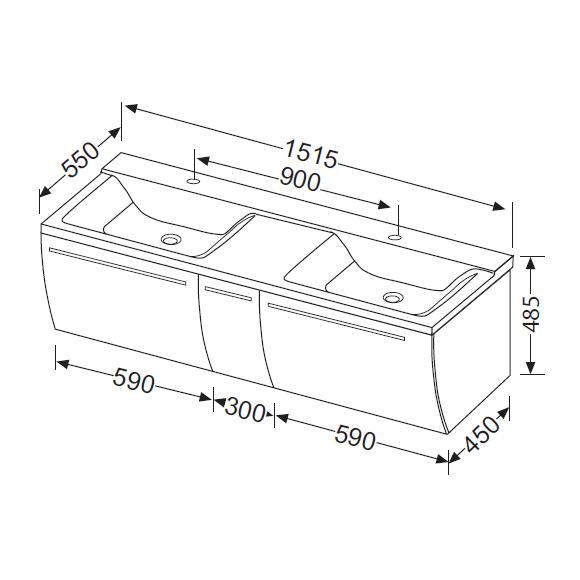 Burg Cala 1.0 Waschtischunterschrank mit Waschtisch und 3 Auszügen ... | {Doppelwaschbecken maße 20}