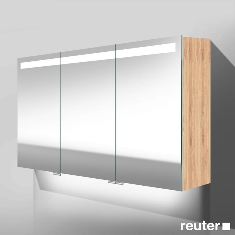 Burg crono spiegelschrank mit led beleuchtung mit 3 t ren bambus natur mit - Spiegelschrank bambus ...