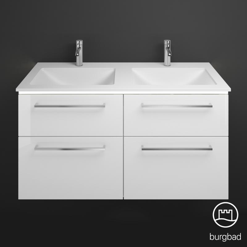 Burgbad eqio doppel waschtisch mit waschtischunterschrank mit led beleuchtung mit 4 ausz gen - Doppel waschtischunterschrank ...