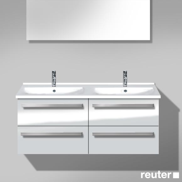 burgbad essento waschtischunterschrank inkl doppelwaschtisch mit 4 ausz gen front wei. Black Bedroom Furniture Sets. Home Design Ideas