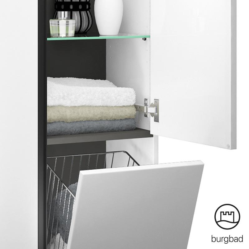 burgbad junit hochschrank mit 1 t r und 1 w schekippe. Black Bedroom Furniture Sets. Home Design Ideas