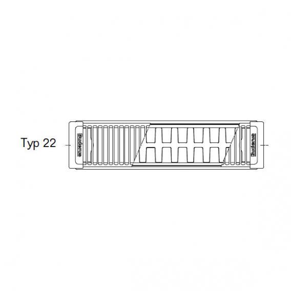 Buderus Logatrend Flachheizkörper-Kompakt Breite 1200 mm, Leistung 2026 Watt