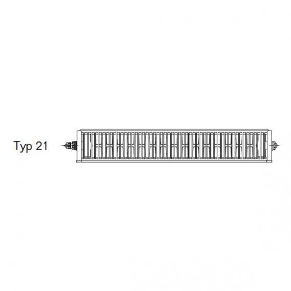 Buderus Logatrend Flachheizkörper-Plan-Ventil-Kompakt Mittenanschluss Breite 900 mm, Leistung 1125 Watt, Ventil links