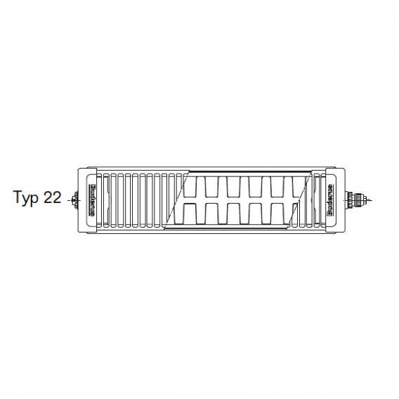 Buderus Logatrend Flachheizkörper-Ventil-Kompakt Mittenanschluss Breite 1000 mm, Leistung 1688 Watt
