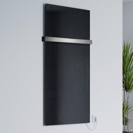 Corpotherma Glas Infrarotheizung-Set mit Handtuchhalter schwarz, 400 Watt
