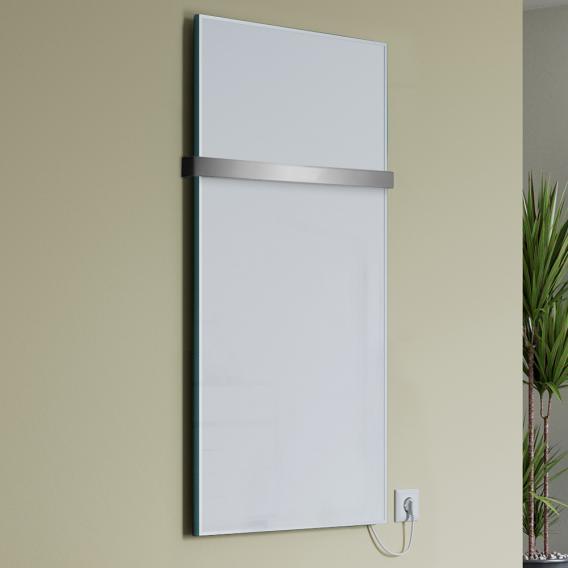 Corpotherma Glas Infrarotheizungs-Set mit Handtuchhalter weiß, 800 Watt