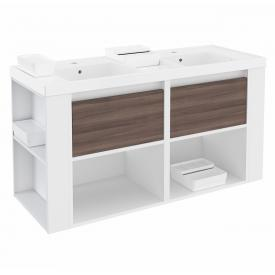 Cosmic b-smart Doppelwaschtisch mit Waschtischunterschrank mit 2 Auszügen und 2 Ablagen Front esche/weiß / Korpus weiß