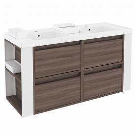 Cosmic b-smart Doppelwaschtisch eckig mit Waschtischunterschrank mit 4 Auszügen Front esche/weiß / Korpus esche