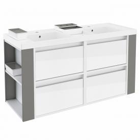 Cosmic b-smart Doppelwaschtisch eckig mit Waschtischunterschrank mit 4 Auszügen Front weiß glanz/grau / Korpus weiß glanz