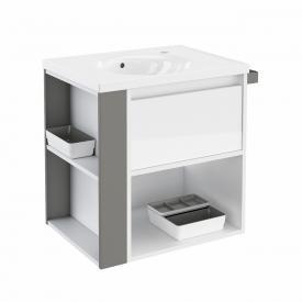 Cosmic b-smart Waschtisch rund mit Waschtischunterschrank mit 1 Auszug und 1 Ablagefach Front weiß glanz/grau / Korpus weiß glanz