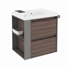 Cosmic b-smart Waschtisch mit Waschtischunterschrank mit 2 Auszügen Front esche/grau / Korpus esche