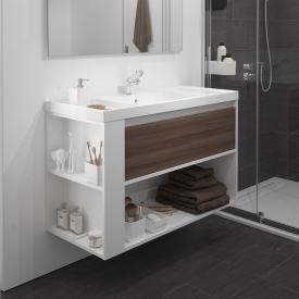Cosmic b-smart Waschtisch mit Waschtischunterschrank und 1 Auszug und 1 Ablagefach Front esche/weiß / Korpus weiß