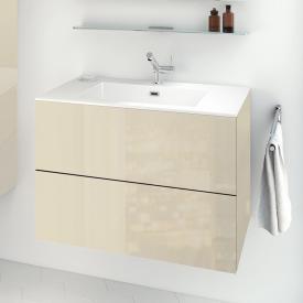 Cosmic block evo Waschtisch mit Waschtischunterschrank mit 2 Auszügen weiß glänzend, creme light glänzend