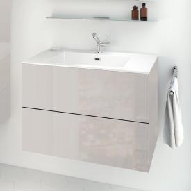 Cosmic block evo Waschtisch mit Waschtischunterschrank mit 2 Auszügen weiß glänzend, hellgrau glänzend
