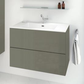 Cosmic block evo Waschtisch mit Waschtischunterschrank mit 2 Auszügen weiß glänzend, olivgrau glänzend