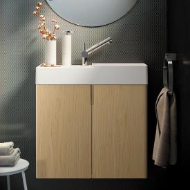 Cosmic fancy Handwaschbecken mit Waschtischunterschrank mit 2 Türen weiß matt, eiche