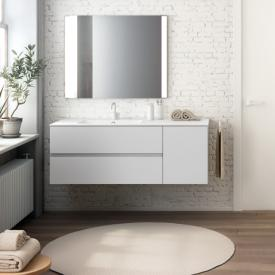Cosmic Mod Waschtisch mit Waschtischunterschrank mit 2 Auszügen und 1 Tür Front weiß matt / Korpus weiß matt