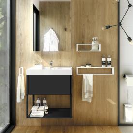 Cosmic The Grid Waschtisch mit Waschtischunterschrank mit fester Ablage und Auszug Front schwarz matt/schwarz / Korpus schwarz matt/schwarz