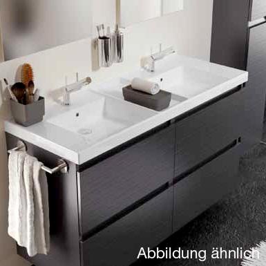 Cosmic b-box Doppelwaschtisch eckig mit Waschtischunterschrank mit 4 Auszügen Front weiß matt / Korpus weiß glanz