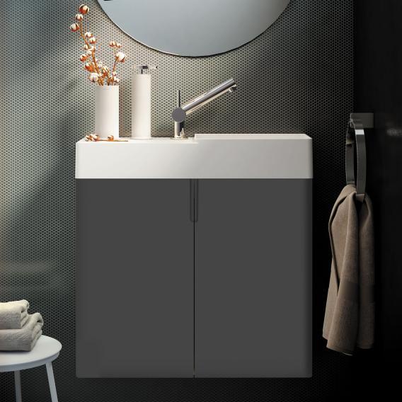 Cosmic fancy Handwaschbecken mit Waschtischunterschrank mit 2 Türen weiß matt, anthrazit