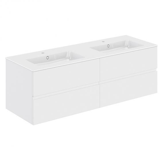 Cosmic Mod Doppelwaschtisch mit Waschtischunterschrank mit 4 Auszügen Front weiß matt / Korpus weiß matt