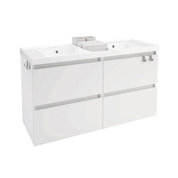 Cosmic b-box Doppelwaschtisch eckig mit Waschtischunterschrank mit 4 Auszügen Front weiß matt / Korpus weiß matt