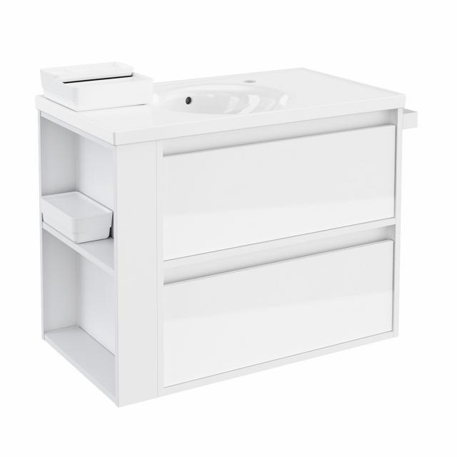 Cosmic b-smart Waschtisch rund mit Waschtischunterschrank mit 2 Auszügen Front weiß glanz / Korpus weiß glanz