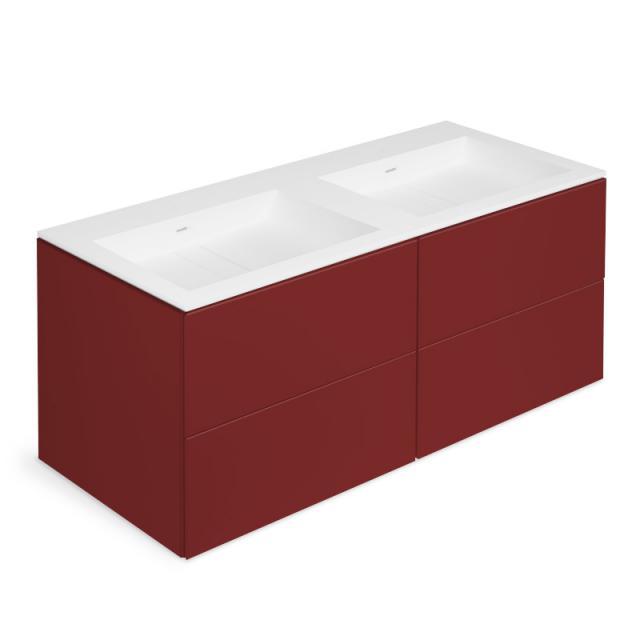 Cosmic Block Doppelwaschtisch mit Waschtischunterschrank mit 4 Auszügen Front rubin matt / Korpus rubin matt