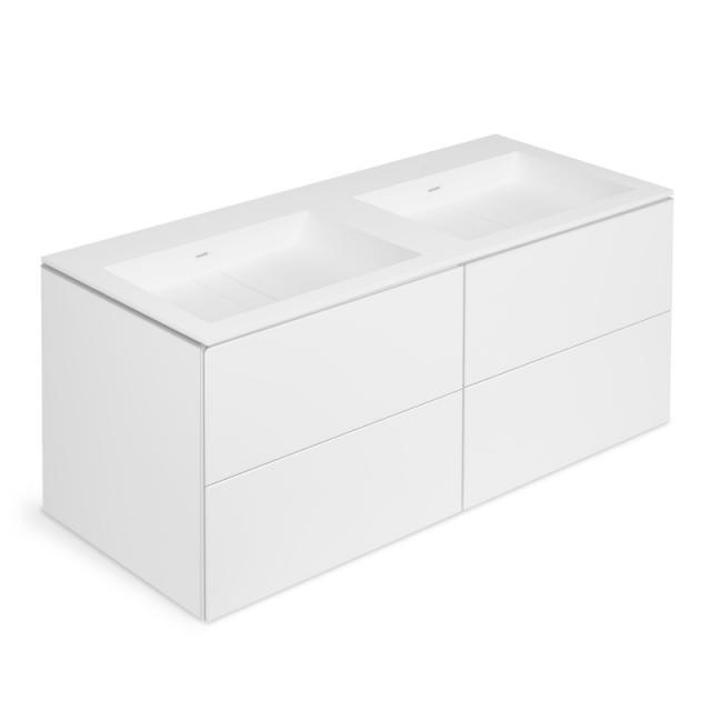 Cosmic Block Doppelwaschtisch mit Waschtischunterschrank mit 4 Auszügen Front weiß matt / Korpus weiß matt
