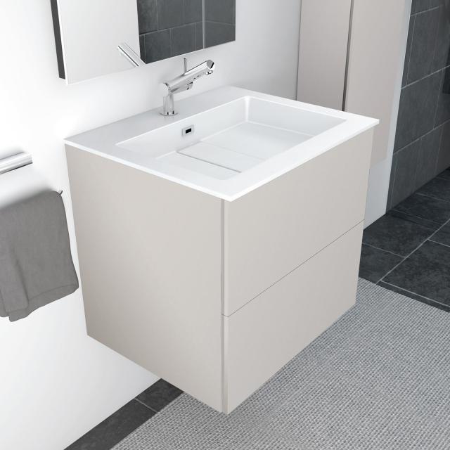 Cosmic block evo Waschtisch mit Waschtischunterschrank mit 2 Auszügen weiß glänzend, hellgrau matt
