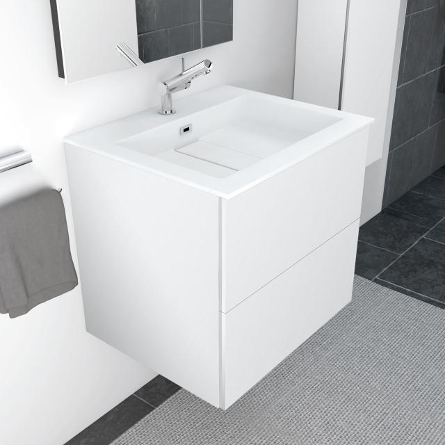 Cosmic block evo Waschtisch mit Waschtischunterschrank mit 2 Auszügen weiß matt, weiß matt